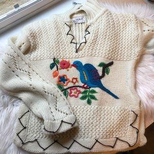 Vintage unique crochet bird cream sweater medium